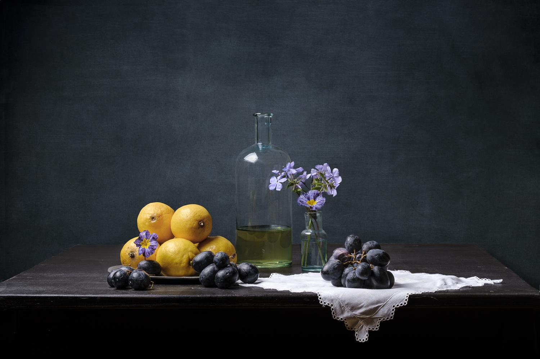 Fine art citroen druif bloemen