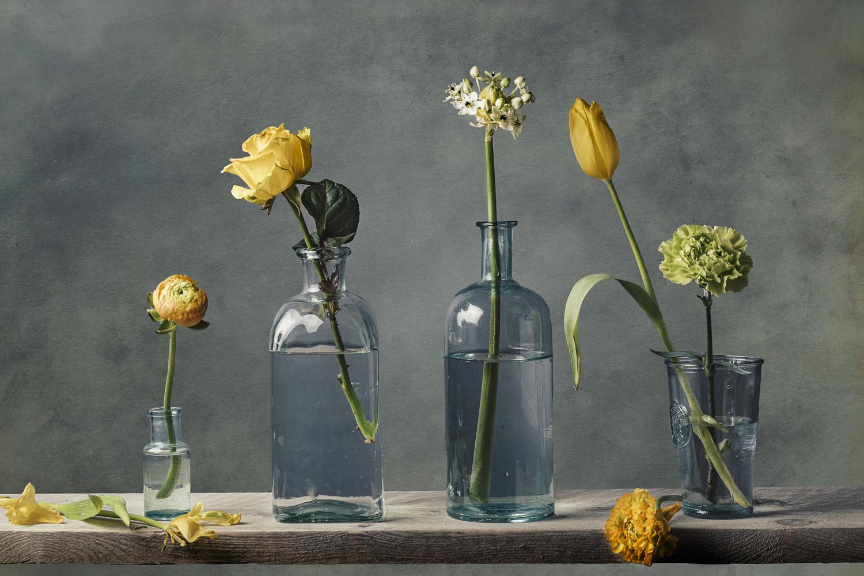Fine art bloemen op een rij